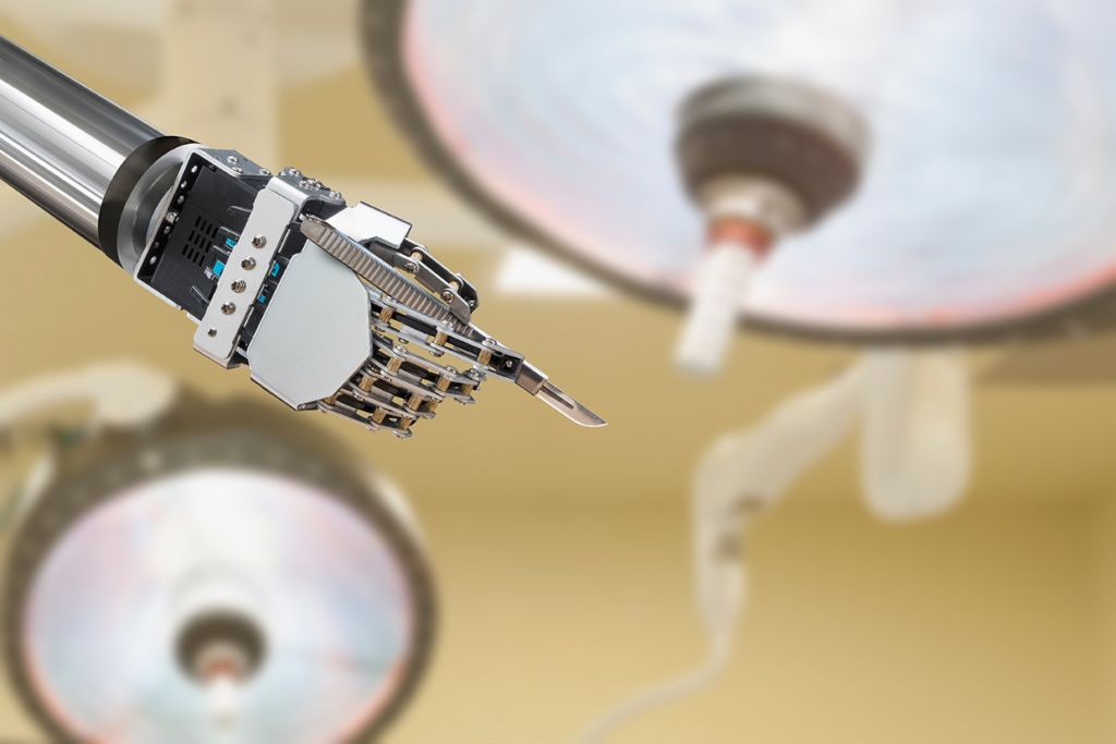 Artificial intelligence and the law: Robotic hand holds a scalpel.