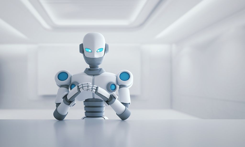 Artificial intelligence and the law: Robot sitting at desk