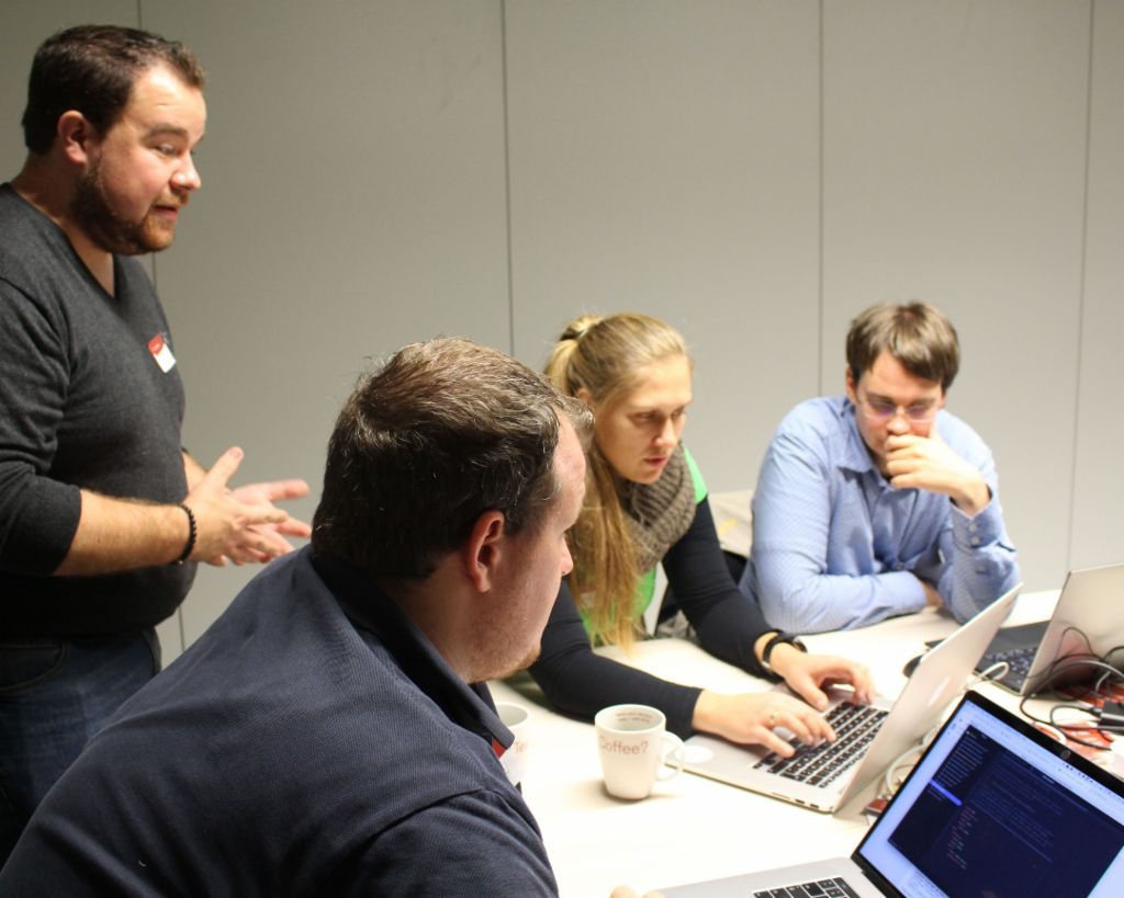 The first EOS Tech Lab with Kubernetes coach Guus van Weelden at EOS headquarters in Hamburg.